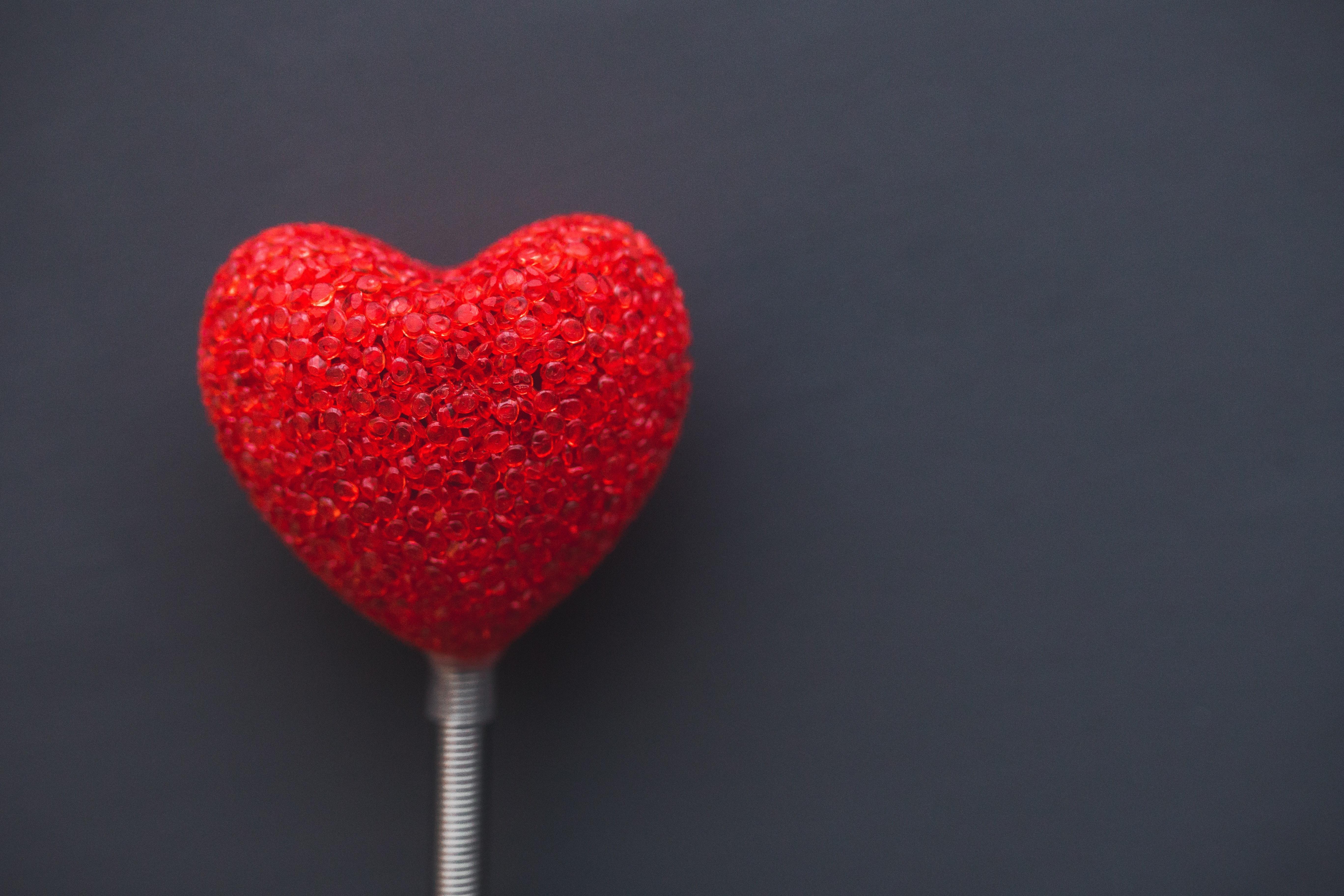 Big Red Heart On Dark Background Free Stock Photo