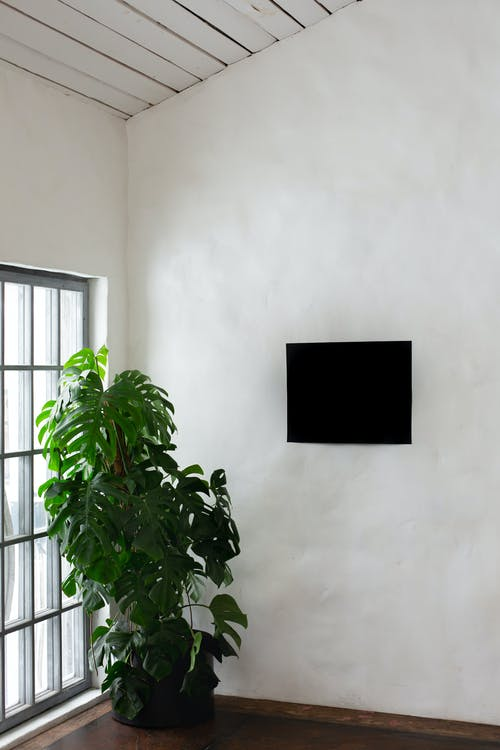 Black Wooden Window Frame on White Wall
