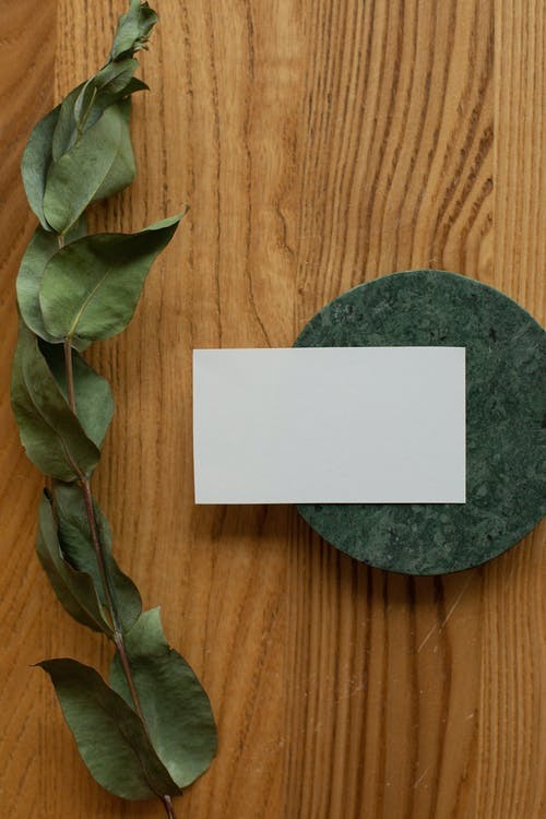 Empty business card on round board