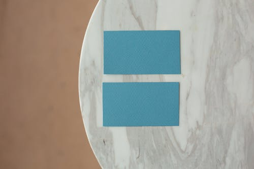 Empty business cards on table