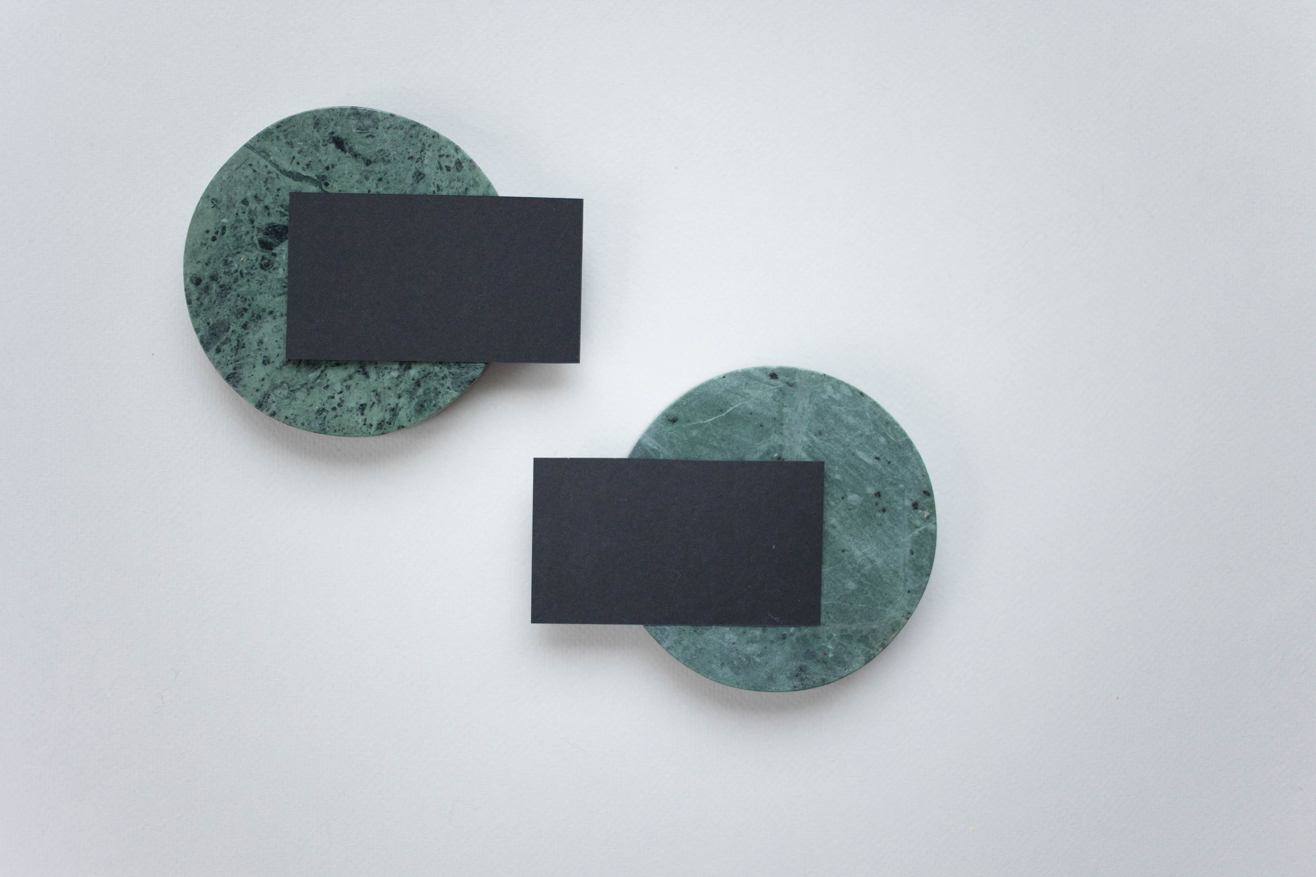blank business cards on coasters