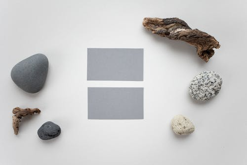 Blank business cards with various decorations