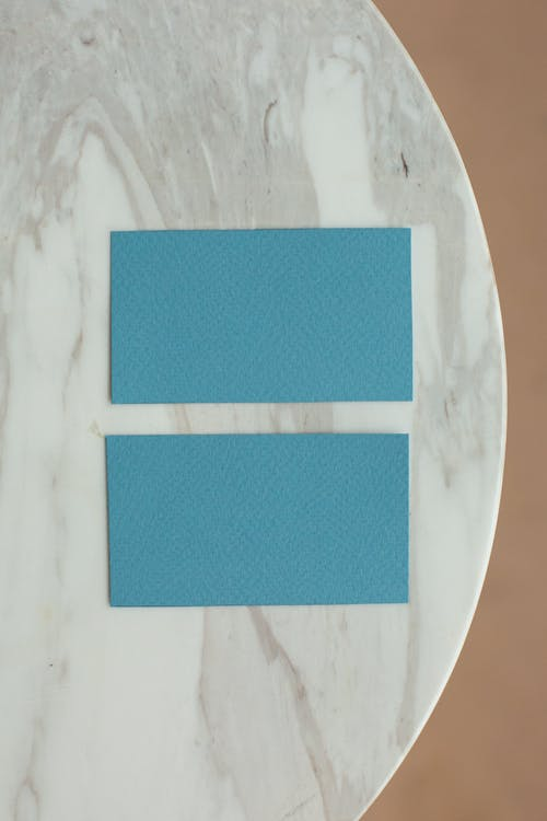 Table with blank business cards