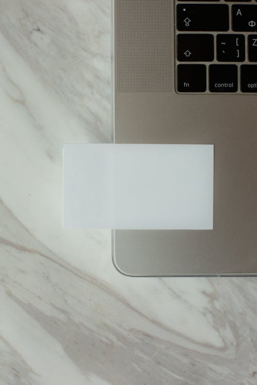 Laptop with blank business card