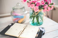 flowers, desk, notebook