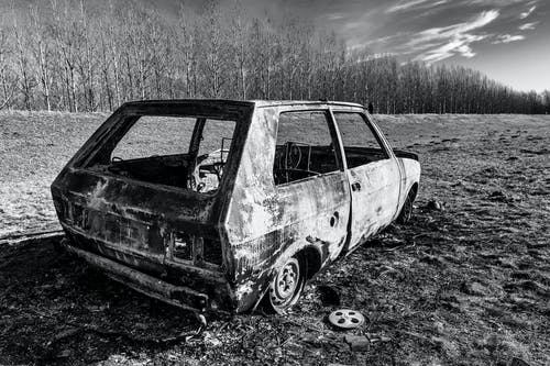 Grayscale Photo of Station Wagon