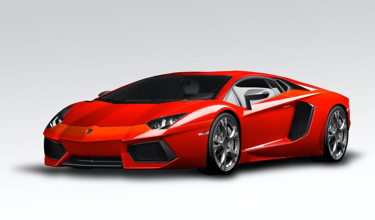 lamborghini aventador, merah, mobil