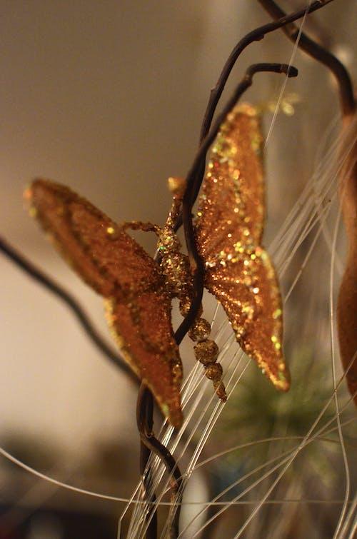 Shiny decorative butterfly on tree branch