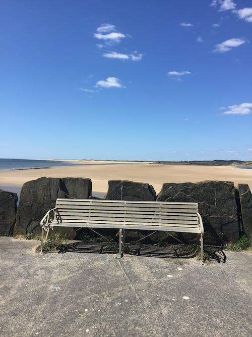 Free stock photo of beach, bench, blue
