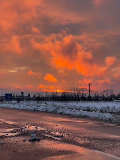 Бесплатное стоковое фото с закат, зима, предзакатный час