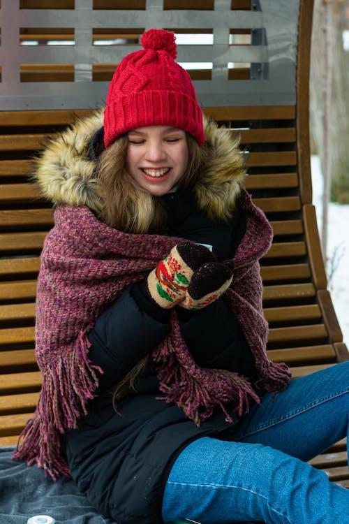Woman Wearing Winter Jacket Sitting Wooden Bench
