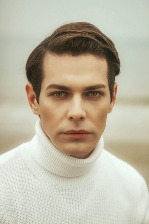 Man in White Turtleneck Sweater