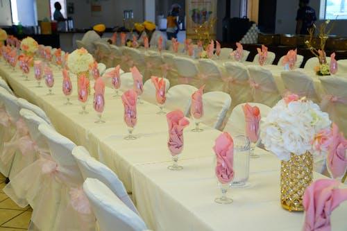 Banquet tables set for wedding celebration