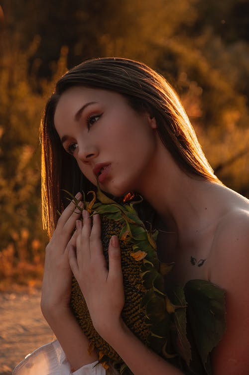 Graceful young female with long hair and bare shoulders embracing dry sunflower and looking away while relaxing in fiend at sunset