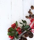 Red Fruits and Brown Pine Cones on White Wooden Surface