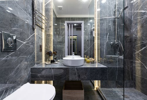 Modern bathroom with sink and shower