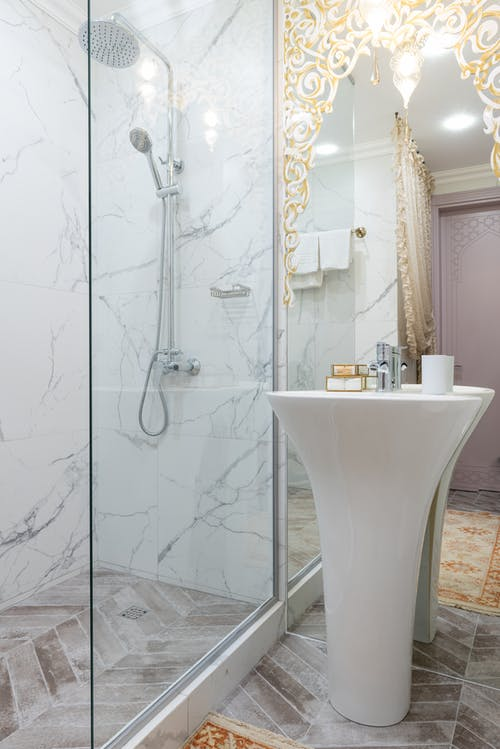 Bathroom with shower and sink