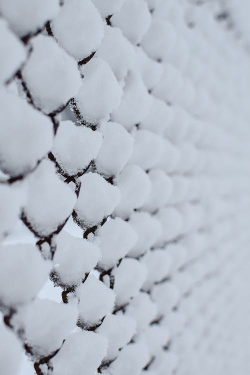 A Snow Covered Metal Fence