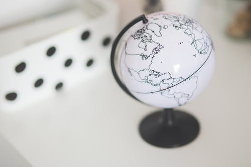 White globe on a desk