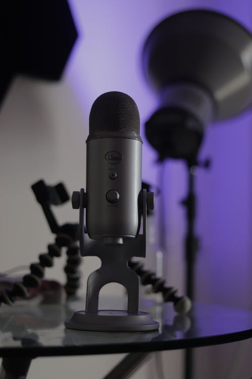 Black and Gray Microphone on Black and White Textile