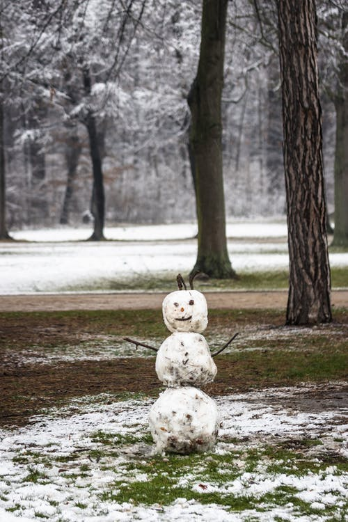 Dirty white snowman with twigs placed on grassy ground covered with snow in forest with tree trunks on cold winter day