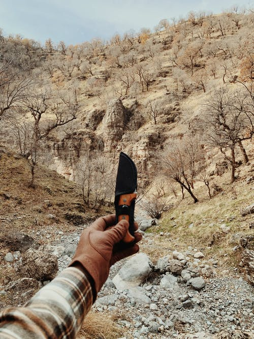 Person Holding Black and Brown Knife