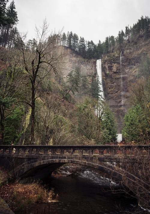 Spectacular landscape of rapid Multnomah Falls streaming through rough rocky cliff with growing green trees near aged bridge over river against cloudy sky