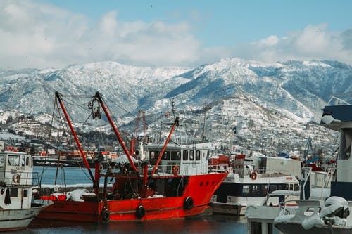 Barge and ships in snowy port