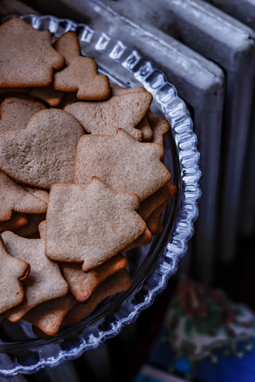 Delicious homemade gingerbread cookies placed in plate