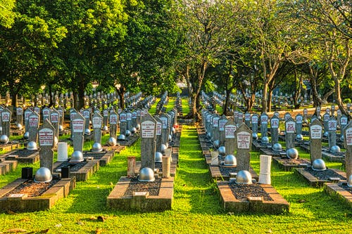 Rows of tombstones with military helmets located on grassy main heroes cemetery with tall lush trees and bright sunlight in Kalibata