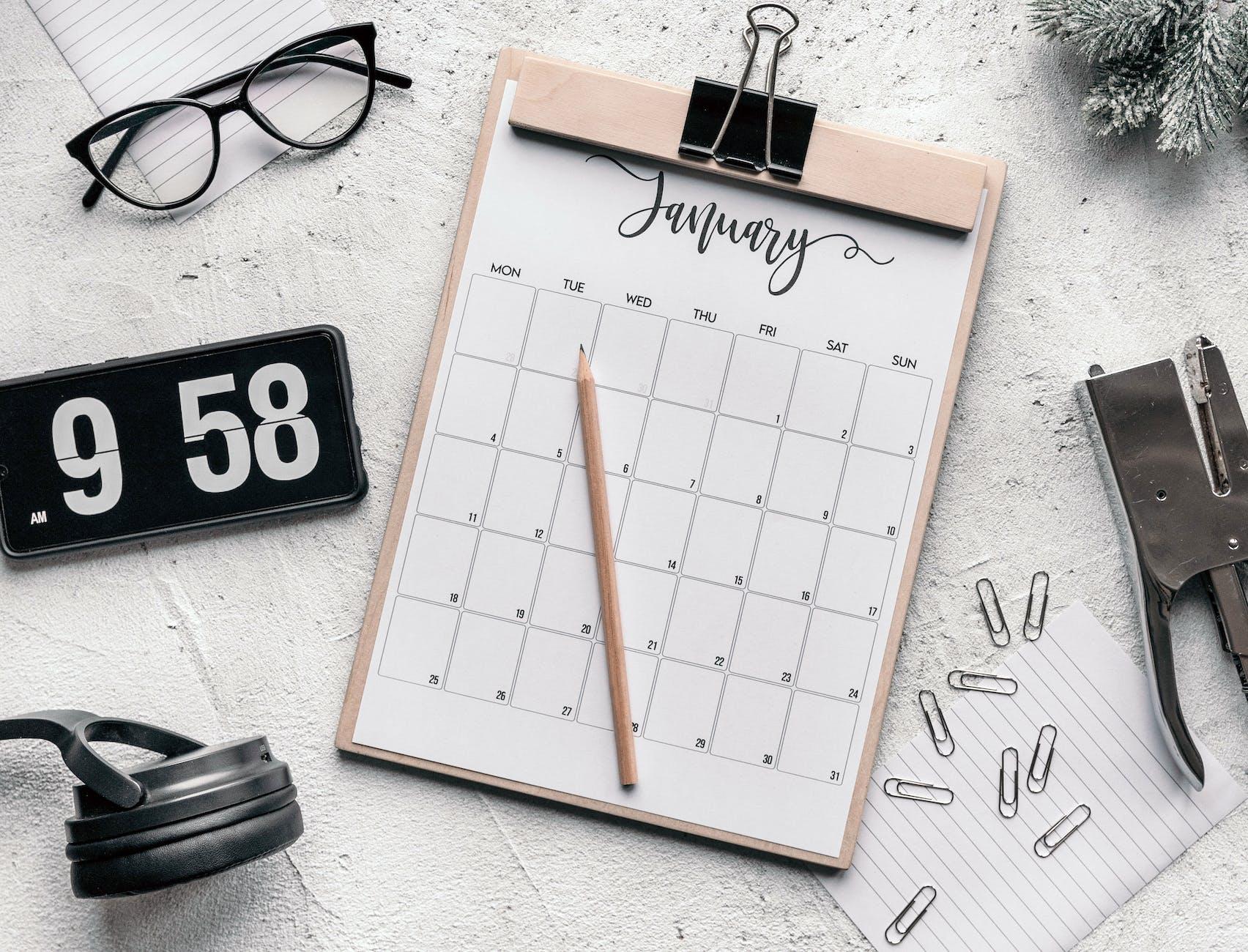 calendrier des objectifs