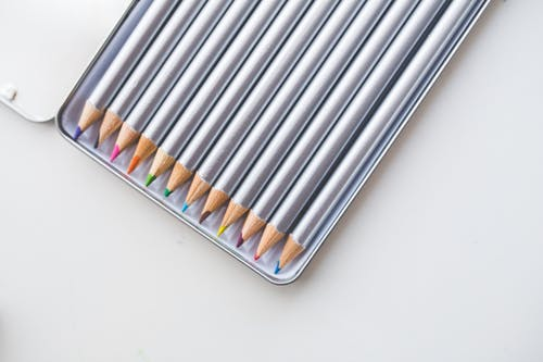 Colored pencils in open box