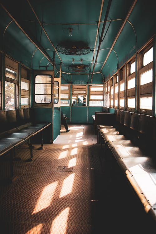 Old empty train on sunny day