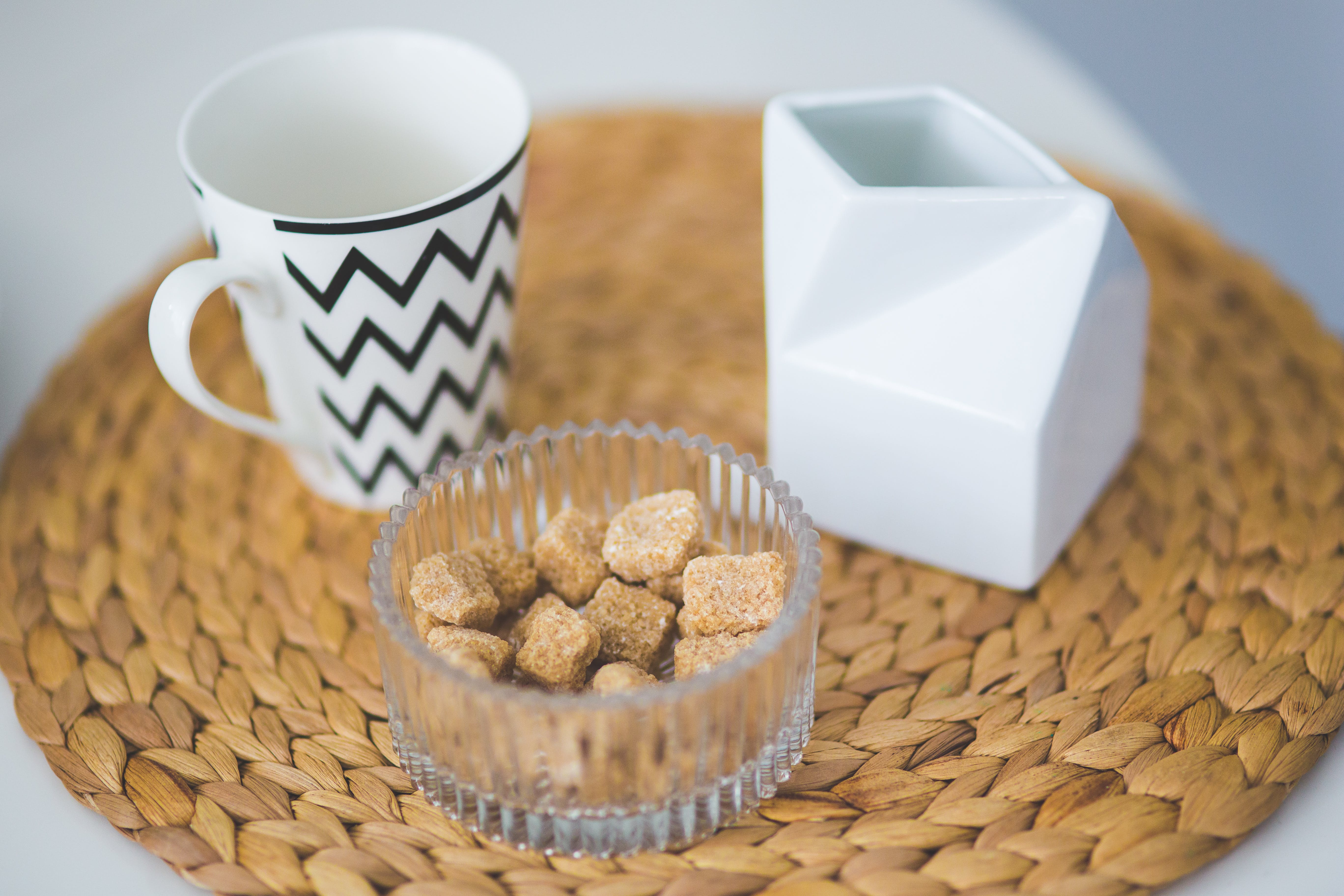 Brown sugar cubes in a dish