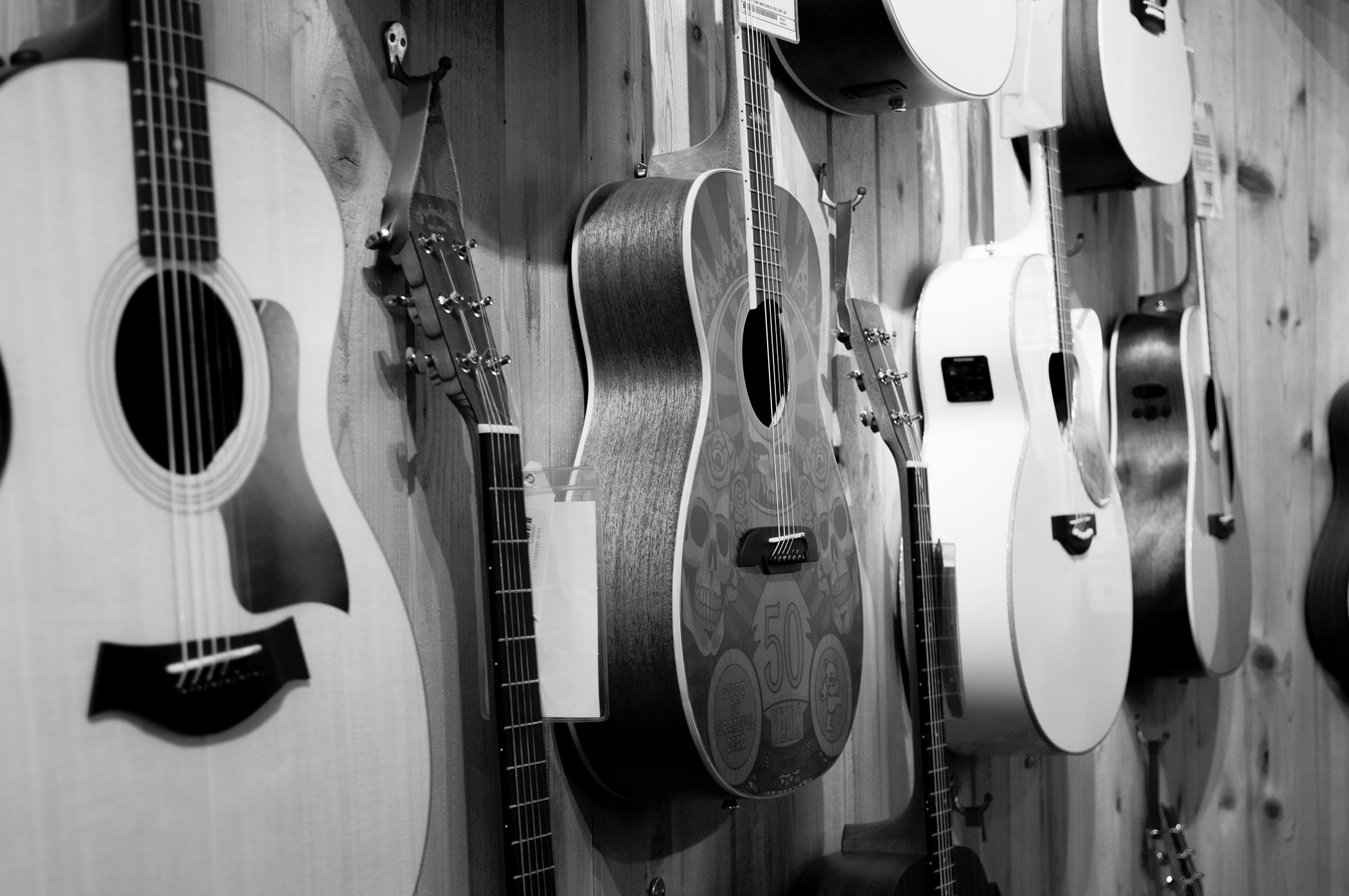 two grayscale acoustic guitars free stock photo. Black Bedroom Furniture Sets. Home Design Ideas