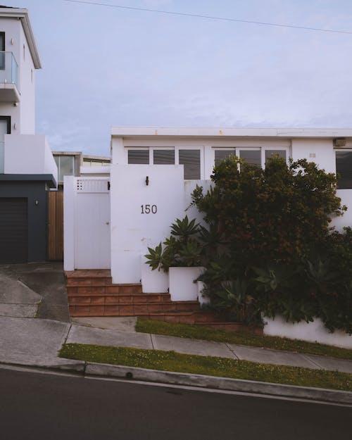 Modern villa exterior in residential area