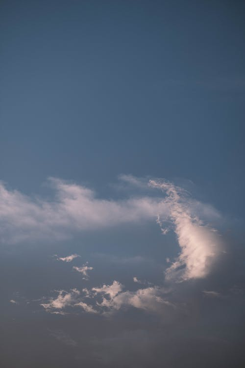 Fluffy clouds in blue sky at sunset