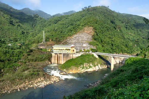 Hydroelectric power plant near river