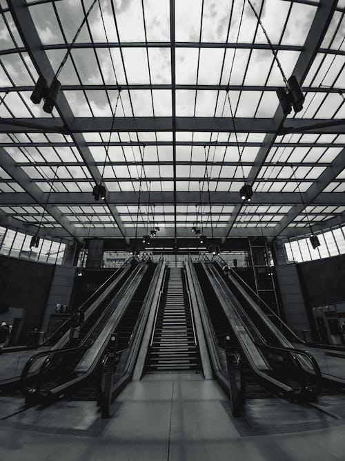 Escalators in spacious empty railway station