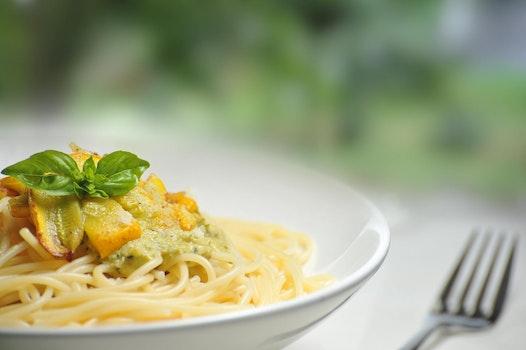 Pasta on White Bowl Besides Fork