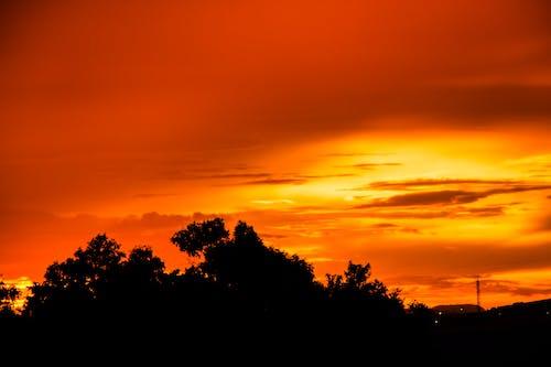 Ảnh lưu trữ miễn phí về bầu trời màu cam, mặt trời đêm