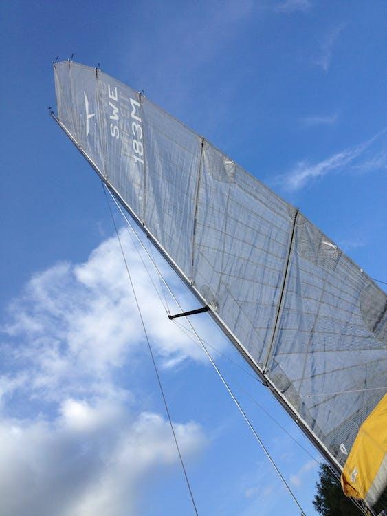 modrá obloha, oblačný, plachetnica