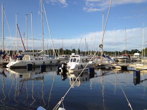 Fotobanka sbezplatnými fotkami na tému člny, leto, modrá obloha, prístav