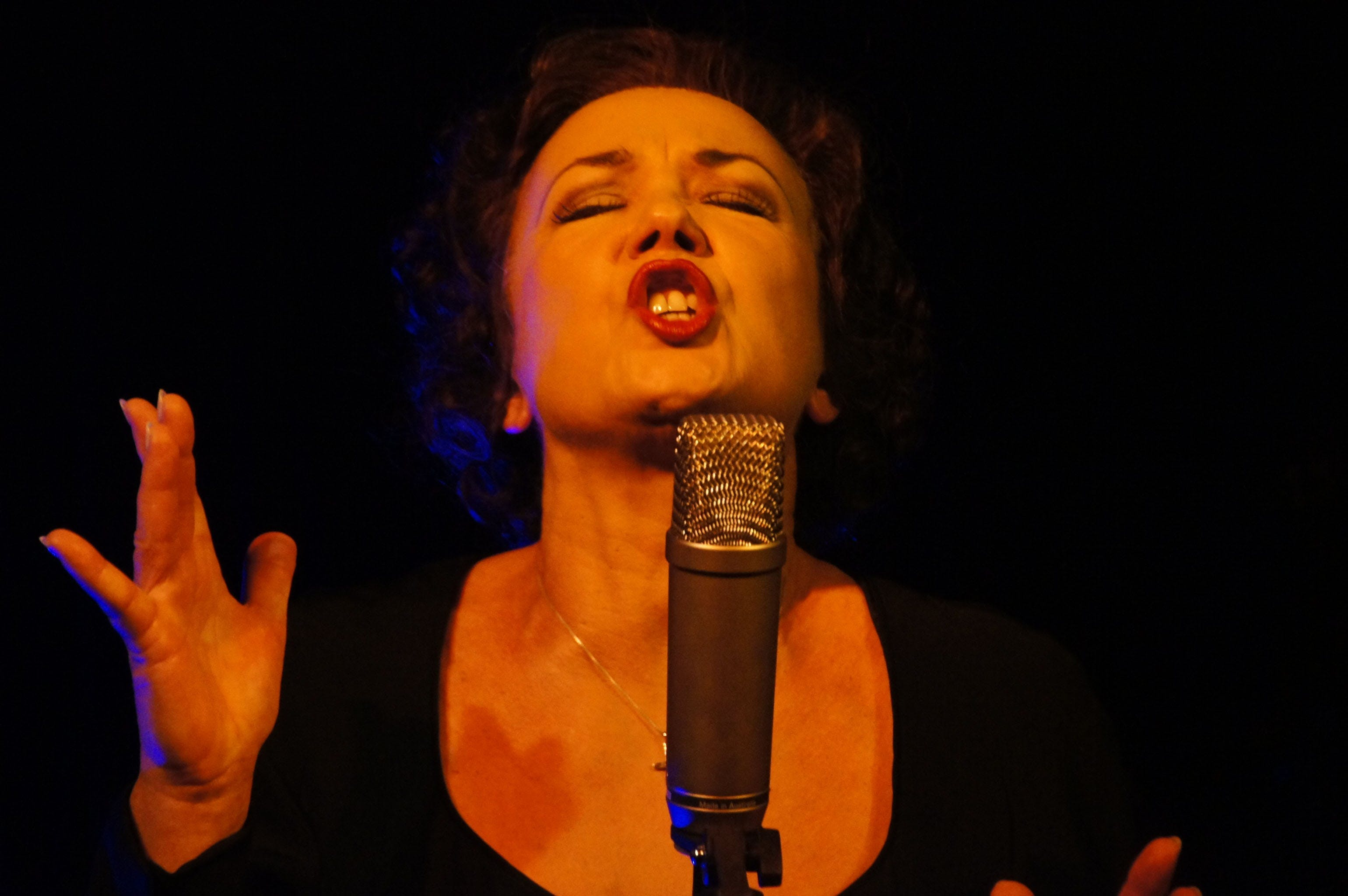 Woman Wearing Black Scoop Neck Shirt Using Microphone With Stand