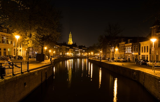 Free stock photo of city, night, evening, canal