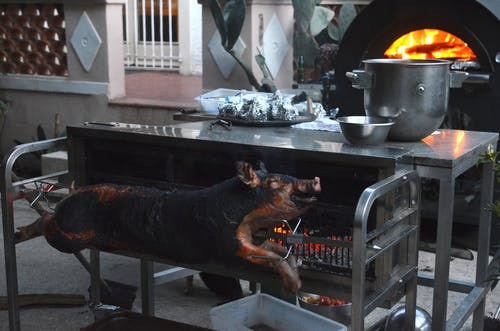 Whole smoked pig on broach near metal table with various utensils in yard of countryside house