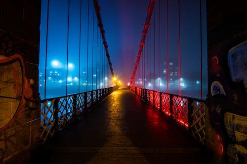 Illuminated Hanging Bridge during Nighttime