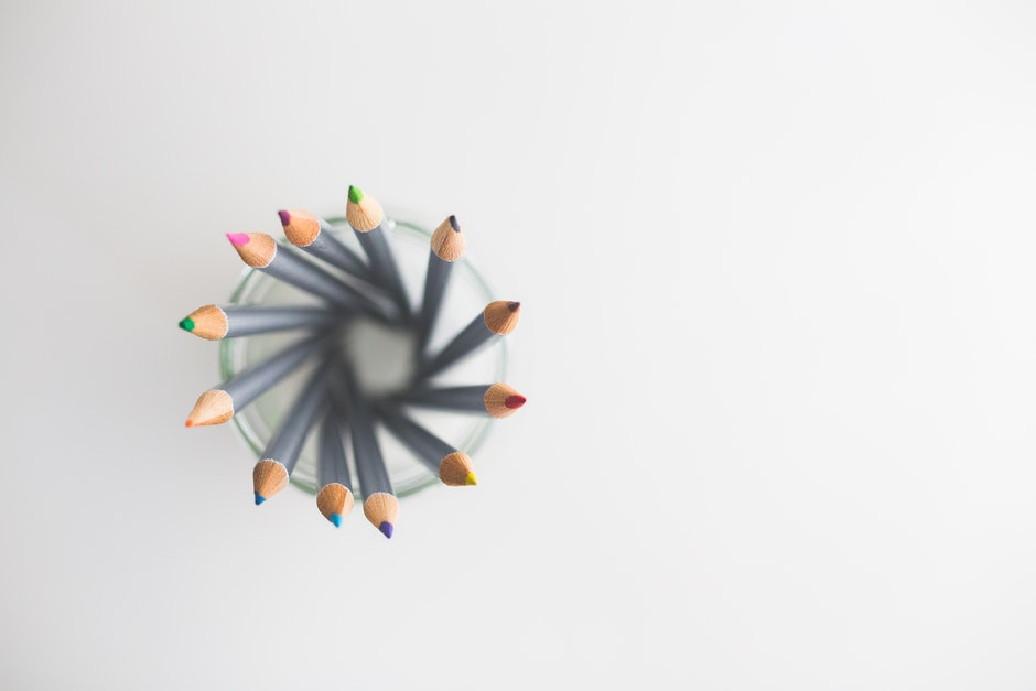 Top view of colored pencils