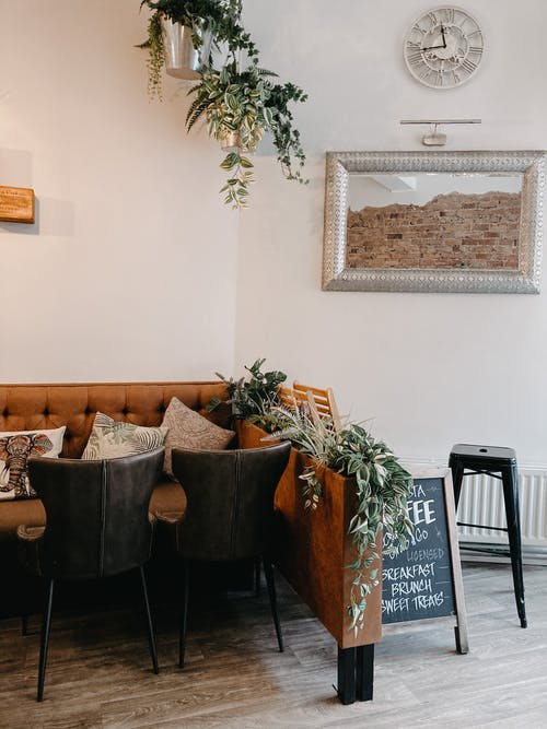 Interior of cozy cafe with vintage styled furniture