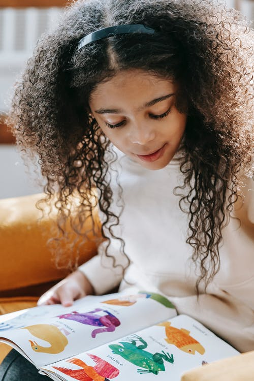 Crop adorable African American girl watching at bright pictures of different animals in book